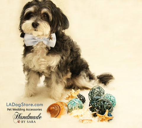 Blue Dog Bow tie attached to collar, beach, Dog birthday gift, wedding accessory