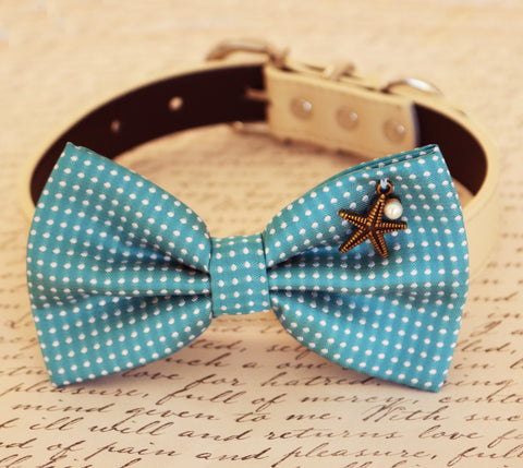 Blue Dog Bow tie attached to collar, Pet wedding accessory, Blue, Beach Star, Pearl