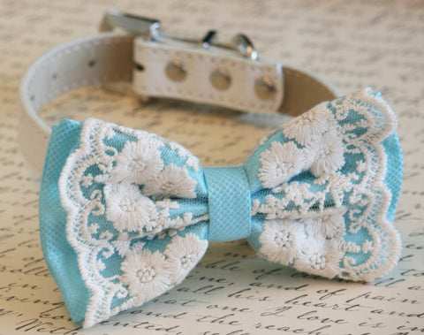 Aqua Blue Dog Bow Tie, Beach wedding, Pet wedding, Victorian wedding pet collar