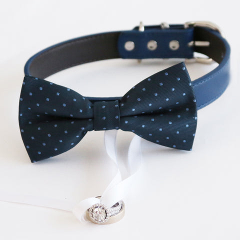 Navy blue bow tie collar , dog of honor ring bearer adjustable handmade XS to XXL leather collar bow, Puppy, Proposal, high quality , Wedding dog collar