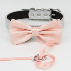 Pearl Blush bow tie collar Leather collar dog of honor ring bearer adjustable handmade XS to XXL collar bow Puppy Proposal Pink Ivory collar