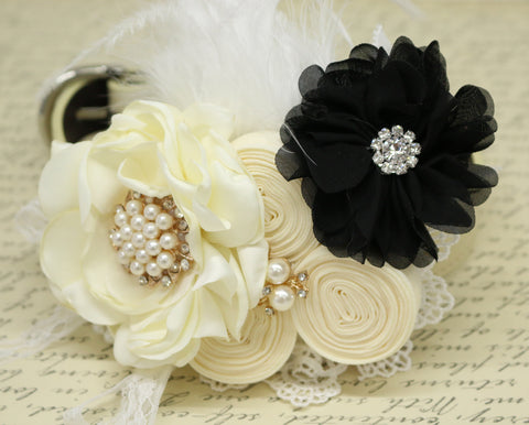 White Black Flower dog collar, Pearl, beaded, feather flower attached to Ivory, Champagne, Black, White or copper leather dog collar