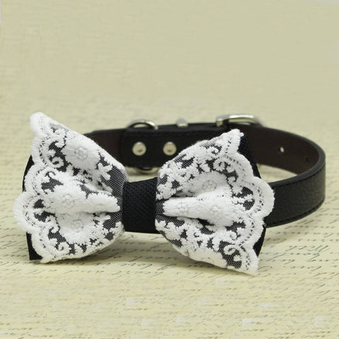 Lace Black Dog Bow Tie Collar, Pet wedding accessory, boho, Pets Handmade Gifts