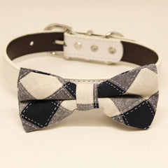 Black and White Plaid Dog Bow tie Collar, Pet Wedding, Birthday Gift, Puppy Love