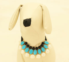 Blue Pearl and Rhinestone Dog jewelry- Pet accessories , Wedding dog collar