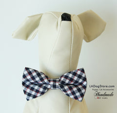 Plaid black and white dog bow tie collar, Puppy Cat collar