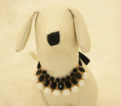 Black Pearl and Rhinestone Dog jewelry- Pet accessories, Pearl Necklace, Dog beaded Necklace , Wedding dog collar