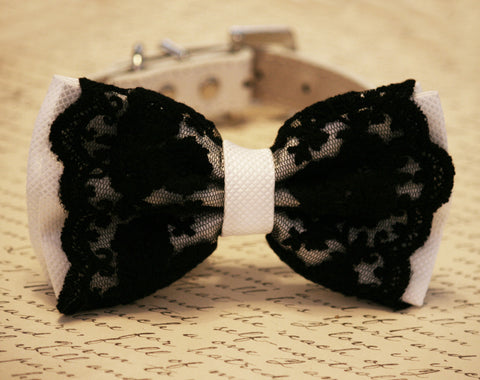 Black and White Lace Dog Bow Tie, Pet wedding, Black and White Wedding