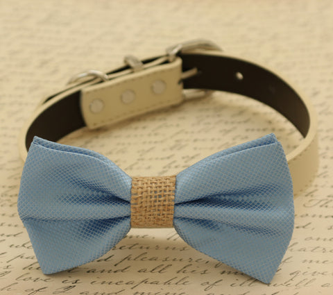 Blue Dog Bow Tie attached to collar, Something blue, beach wedding