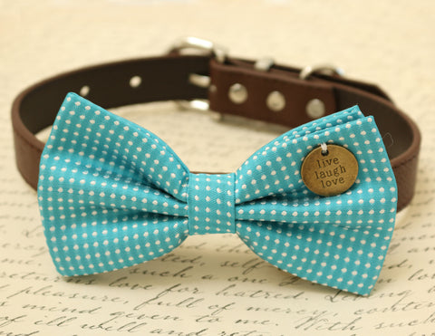 Blue Dog Bow Tie Collar, Live Love Laugh, Pet Wedding accessory , Wedding dog collar