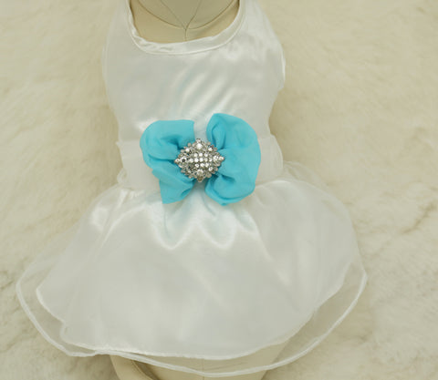 Blue Dog Dress, Pet wedding accessory,dog clothing, Beach wedding