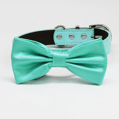 Aquamarine bow tie collar, Black Gray Brown Ivory Copper Gold or Aqua, blue or Nav leather dog collar, Puppy bow collar, Aquamarine wedding