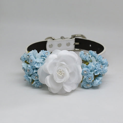 Blue lilac & White garden rose flower, Wedding accessory , Wedding dog collar