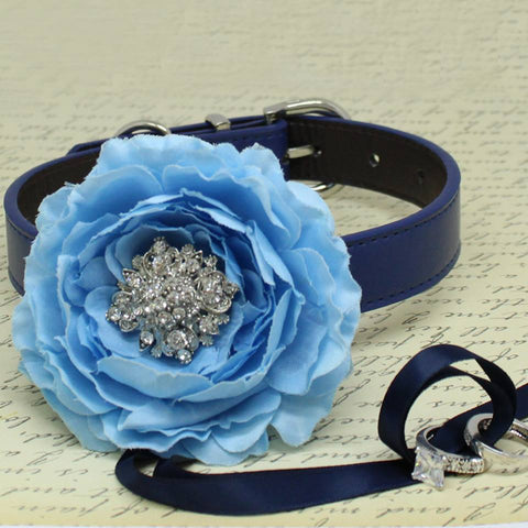 Blue Peony Flower Ring Bearer Dog Collar, Pet Wedding, Puppy Love, Proposal, Beaded dogs collar