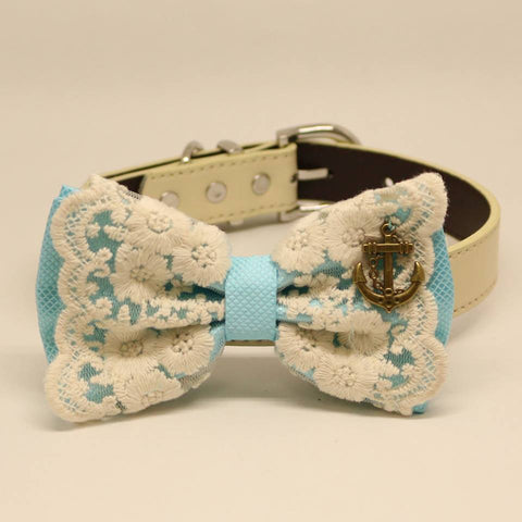 Aqua Blue Dog Bow Tie, Lace and Charm (Anchor), Pet Beach wedding, Victorian, Chic, Elegant