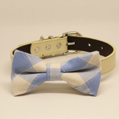 Plaid Blue and White wedding Dog Bow Tie collar, Pet wedding, Something Blue, Birthday Gift , Wedding dog collar