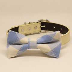 Plaid Blue and White wedding Dog Bow Tie collar, Pet wedding, Something Blue, Birthday Gift