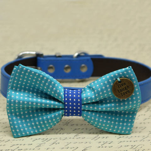 Blue Polka Dots Dog Bow tie collar, Pet wedding, Something blue, Charm(Live, Laugh, Love)