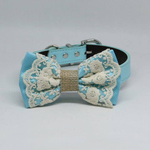 Light Blue Dog Bow Tie collar, Lace and Burlap, Some thing blue, Handmade dog collar, Blue Lace bow tie