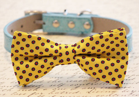 Blue and Yellow Colorful Dog Bow Tie, Sunny Day, Pet wedding, Beach wedding , Wedding dog collar