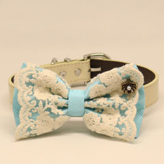 Blue Lace dog bow tie collar, Lace, Leather collar, Puppy Gift,Pet accessory, Country Rustic wedding, Seashell, Pearl, some thing blue