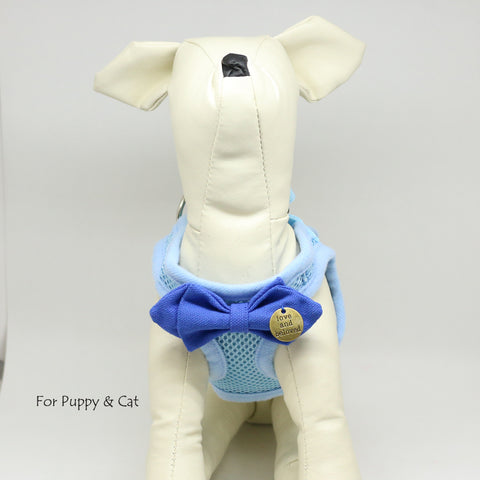 Dog harness with Blue bow tie, Live, love, Laugh, Mesh harness, Lightweight, Breathable, Comfortable, Washable harness, Puppy harness