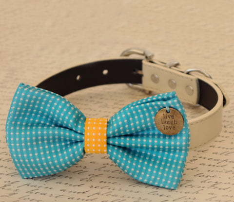 Blue Dog Bow Tie attached to collar, Pet wedding, dog birthday, Blue and Yellow