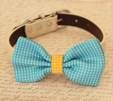 Blue dog bow tie attached to collar, wedding accessory, dog birthday, Blue, yellow