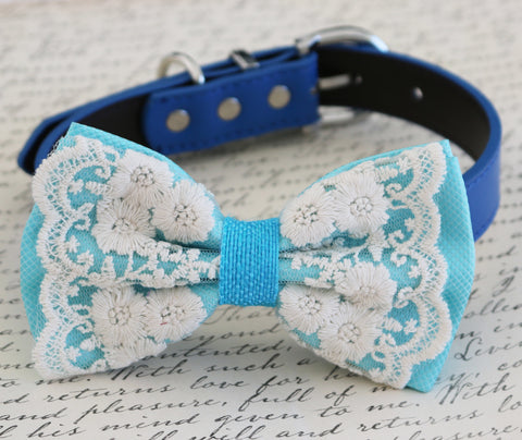 Blue Lace Dog Bow Tie, Pet wedding, beach wedding, dog collar