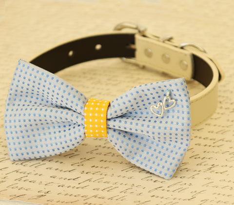 Blue and yellow dog bow tie collar, Pet wedding, Heart Charm, Dog birthday