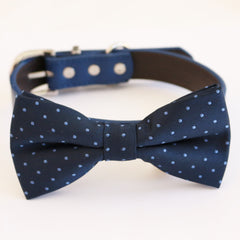 Navy blue bow tie collar dog of honor dog ring bearer XS to XXL collar and bow tie, Puppy bow tie leather adjustable dog collar
