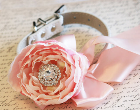 Blush Peonies Floral Dog Collar, Blush Wedding Accessory, Spring wedding, Dog Lovers