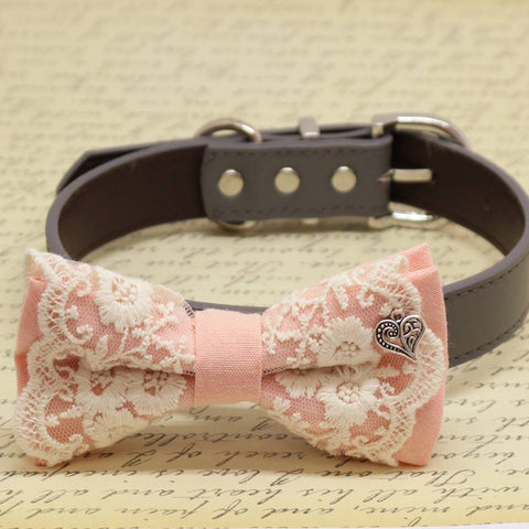 Blush Lace dog bow tie collar, Charm (Heart), Puppy Gift, Pet wedding accessory, Birthday