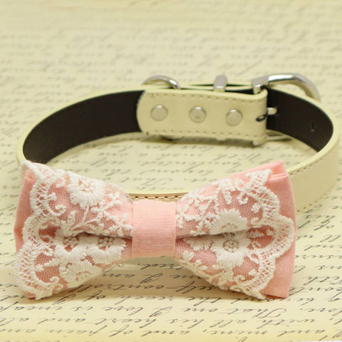 Blush Lace dog bow tie collar, Puppy Gift, Pet wedding accessory, Birthday