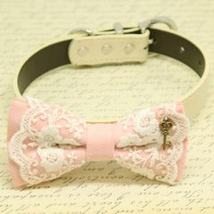 Blush Lace dog bow tie collar, Charm (Key of Heart), Puppy Gift, Pet wedding , Wedding dog collar
