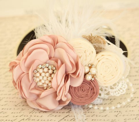Pearl Blush Wedding Flower dog collar, Pet wedding, Burlap , Wedding dog collar