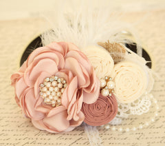 Pearl Blush Flower dog collar, Dog birthday gift, Pet wedding accessory, Pearls, Rhinestone, Ivory collar, Burlap, Feather, Lace, Victorian - LA Dog Store  - 1
