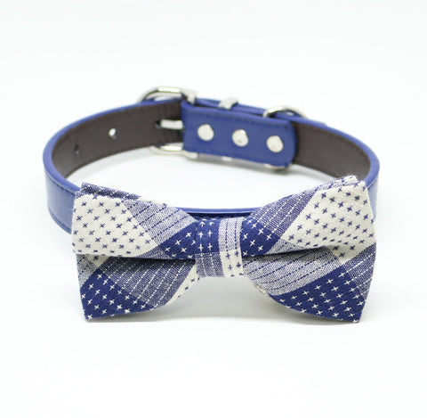 Royal Blue Dog Bow tie collar, Royal blue bow, Plaid bow, Pet wedding accessory, Something blue , Wedding dog collar