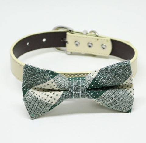 Green Dog Bow tie collar, Green bow, Plaid bow