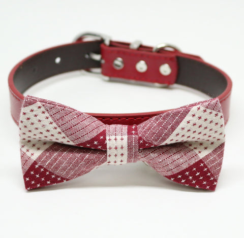 Red Dog Bow tie collar, Plaid bow tie, Pet wedding accessory