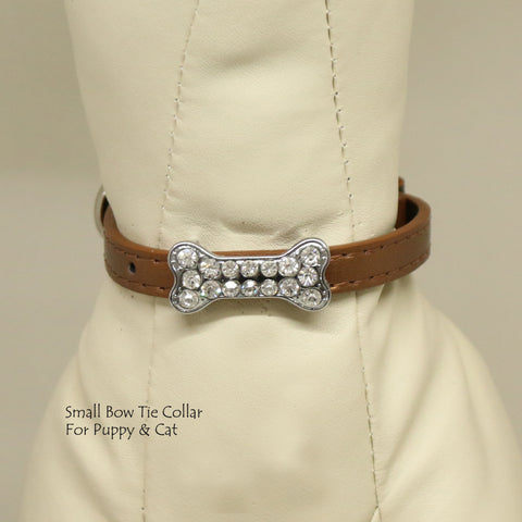 Dog Cat Collar, Leather, Charm, XS Collars,  Puppy collars, Cat Collar, kitten collar, Pet collar , Wedding dog collar