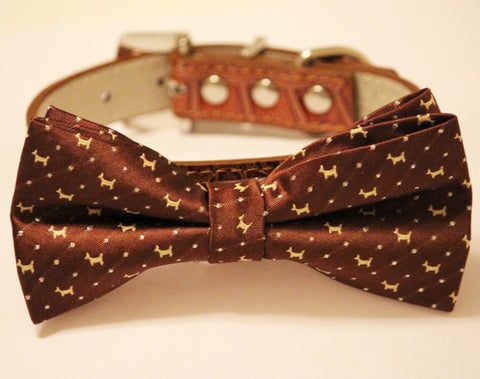 Brown Dog Bow tie with collar, Chic and Elegant, Wedding Dog Accessory