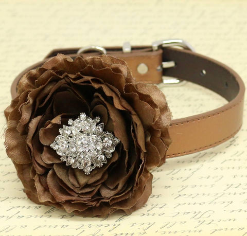 Brown Floral Dog Collar, Pet Wedding, Dog Lovers, Rhinestone, Choker, Peony Flower