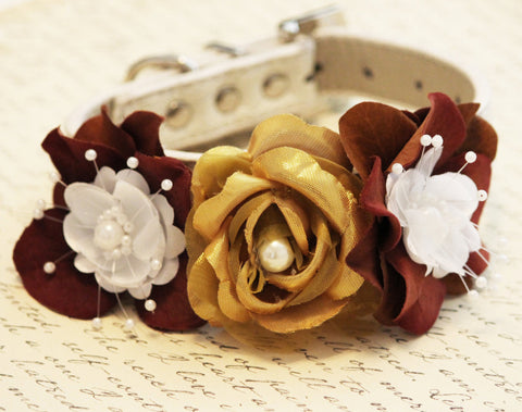 Gold and Brown Dog Collar, High Quality Collar with Gold and Brown flowers- Wedding dog accessory
