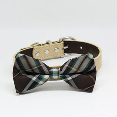 Brown Ivory Plaid Dog Bow Tie collar, Puppy lovers, Pet Wedding accessory , Wedding dog collar