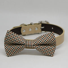 Plaid Brown Black Ivory bow tie dog collar, Pet Wedding Accessories, Handmade Gifts , Wedding dog collar