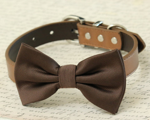 Brown dog bow tie collar - Dog collar
