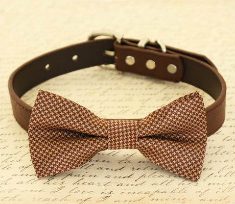 Brown Dog Bow Tie attached to collar, Pet wedding accessory