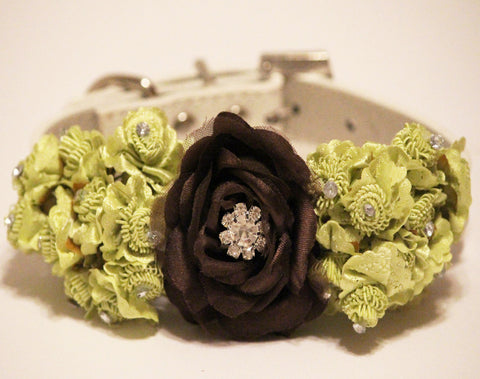Green Brown Wedding Floral Dog Collars, green floral wedding