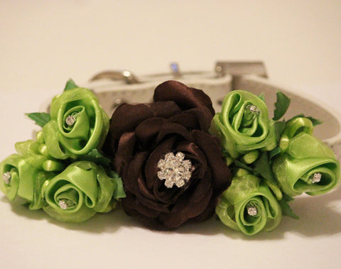 Brown Green Floral Dog Collar Wedding, Pet Wedding Accessory, floral wedding